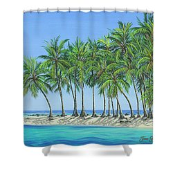 Shower Curtain featuring the painting Tropical Lagoon by Jane Girardot