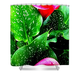 Tropical Leaves Shower Curtain by Marianne Dow