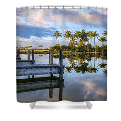 Tropical Morning Shower Curtain by Debra and Dave Vanderlaan