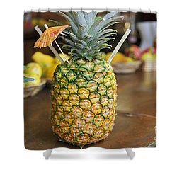 Tropical Pineapple Drink Shower Curtain by Brandon Tabiolo