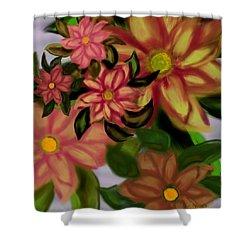 Tropical Plaid Shower Curtain by Christine Fournier