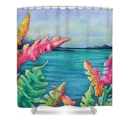 Tropical Scene Shower Curtain by Chrisann Ellis