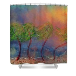 Tropical Sorm On The Way Out Shower Curtain by Renee Michelle Wenker