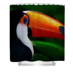 Shower Curtain featuring the digital art Tropical Toucan  by Anthony Fishburne