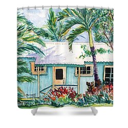 Tropical Vacation Cottage Shower Curtain by Marionette Taboniar