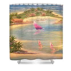 Tropical Windy Island Paradise Shower Curtain