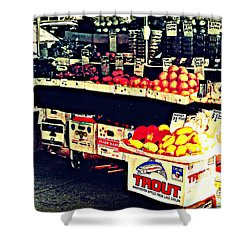 Shower Curtain featuring the photograph Vintage Outdoor Fruit And Vegetable Stand - Markets Of New York City by Miriam Danar