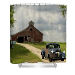 Trucks And Barn Shower Curtain by Jack Zulli