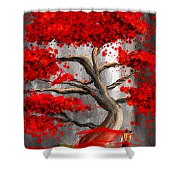 True Love Waits - Red And Gray Art Shower Curtain