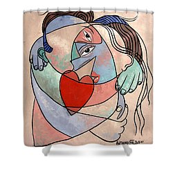 True Love When Two Become One Shower Curtain by Anthony Falbo