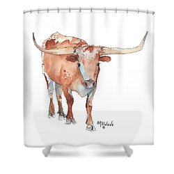Square Walking Tall Texas Longhorn Watercolor Painting By Kmcelwaine Shower Curtain by Kathleen McElwaine
