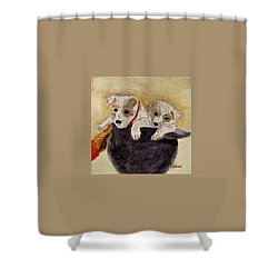 Trump And Tillie Shower Curtain by Angela Davies