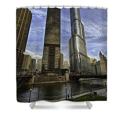 Trump Tower And River Front Shower Curtain