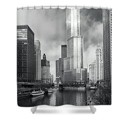 Shower Curtain featuring the photograph Trump Tower In Chicago by Steven Sparks
