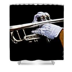 Trumpet Shower Curtain by Tom Gari Gallery-Three-Photography