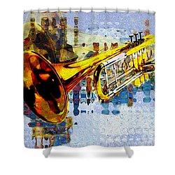 Trumpet Shower Curtain by Jack Zulli