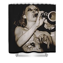 Shower Curtain featuring the photograph Trumpet Lady by Alice Gipson