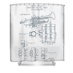 Trumpet Patent From 1939 - Blue Ink Shower Curtain by Aged Pixel