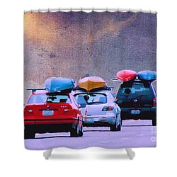 Shower Curtain featuring the photograph Trying To Beat The Rain by Janette Boyd