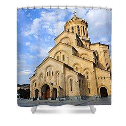 Tsminda Sameba Cathedral Tbilisi Georgia Shower Curtain by Robert Preston