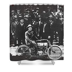 Tucson Police Department  On Steps Of City Hall With 1st Police Motorcycle C. 1917 Tucson Arizona Shower Curtain by David Lee Guss
