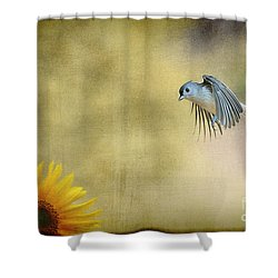 Tufted Titmouse Flying Over Flower Shower Curtain by Dan Friend