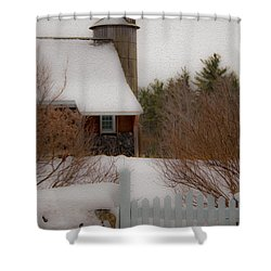 Shower Curtain featuring the photograph Tuftonboro Farm In Snow by Brenda Jacobs