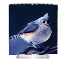 Tufty The Titmouse Shower Curtain by Pennie  McCracken