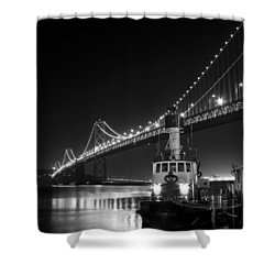 Tugboat Under The Bay Bridge Shower Curtain