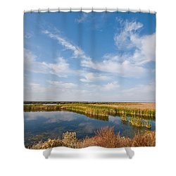 Shower Curtain featuring the photograph Tule Lake Marshland by Jeff Goulden