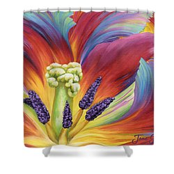 Shower Curtain featuring the painting Tulip Color Study by Jane Girardot