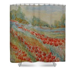 Shower Curtain featuring the painting Tulip Field by Jane  See