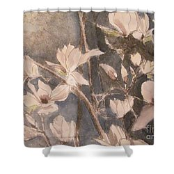Shower Curtain featuring the painting Tulip Magnolias by Nancy Kane Chapman