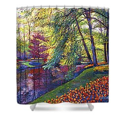 Tulip Park Shower Curtain by David Lloyd Glover
