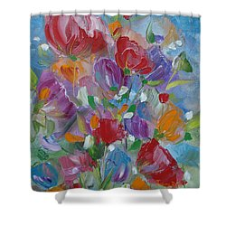 Shower Curtain featuring the painting Tulip Symphony by Judith Rhue
