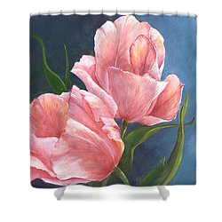 Shower Curtain featuring the painting Tulip Waltz by Sherry Shipley