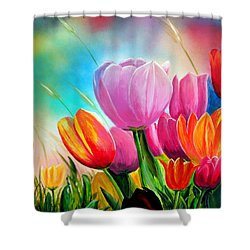 Tulipa Festivity Shower Curtain by Angel Ortiz