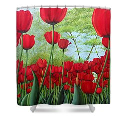 Tulipanes  Shower Curtain by Angel Ortiz