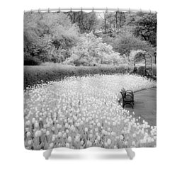 Tulips And Bench II Shower Curtain