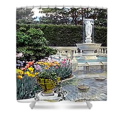 Tulips And Fountain Shower Curtain by Terry Reynoldson