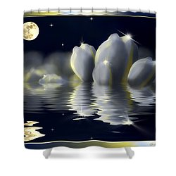 Tulips And Moon Reflection Shower Curtain by Peter v Quenter