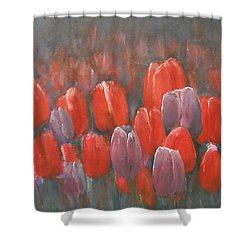 Shower Curtain featuring the painting Tulips Blossom 2 by Jane See