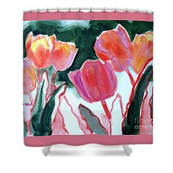 Tulips For The Love Of Patches Shower Curtain by Kathy Braud