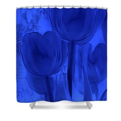 Tulips In Cobalt Blue Shower Curtain