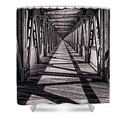 Tulsa Pedestrian Bridge In Black And White Shower Curtain