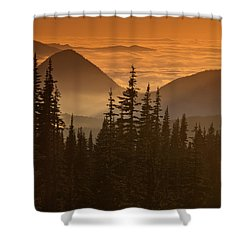 Shower Curtain featuring the photograph Tumtum Peak At Sunset by Jeff Goulden