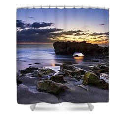 Tunnel Of Light Shower Curtain by Debra and Dave Vanderlaan