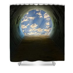 Tunnel With Light Shower Curtain by Melinda Fawver