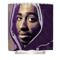 Tupac Shakur And Lyrics Shower Curtain by Tony Rubino