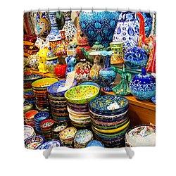 Turkish Ceramic Pottery 1 Shower Curtain by David Smith